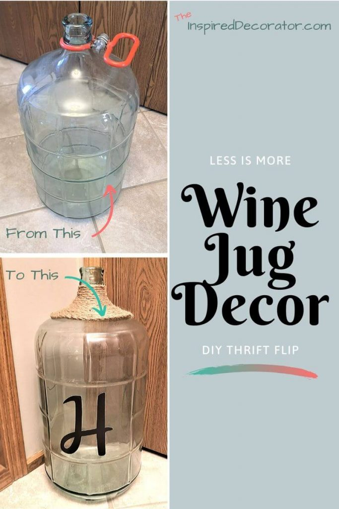 Add a diy touch to a plain wine jug to flip it into a home decor piece fit for any farmhouse style home. - the Inspired Decorator
