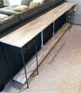 DIY Console Table: A full length barnboard table that fits perfectly behind this sectional