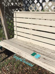 Green versus Blue paint colors for the porch swing restoration project