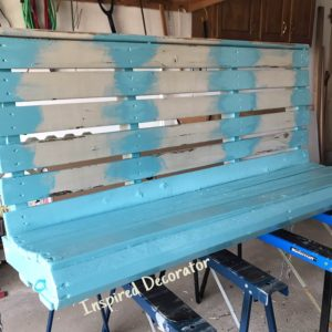 This partially painted swing is to show you that once the details are painted, go back and paint the flat surfaces smooth