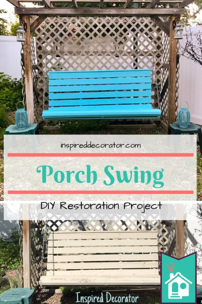 The porch swing was given a DIY makeover to brighten up the backyard! This DIY porch swing restoration was done with Benjamin Moore Pool Blue paint. What a bright addition to this outdoor space! inspireddecorator.com