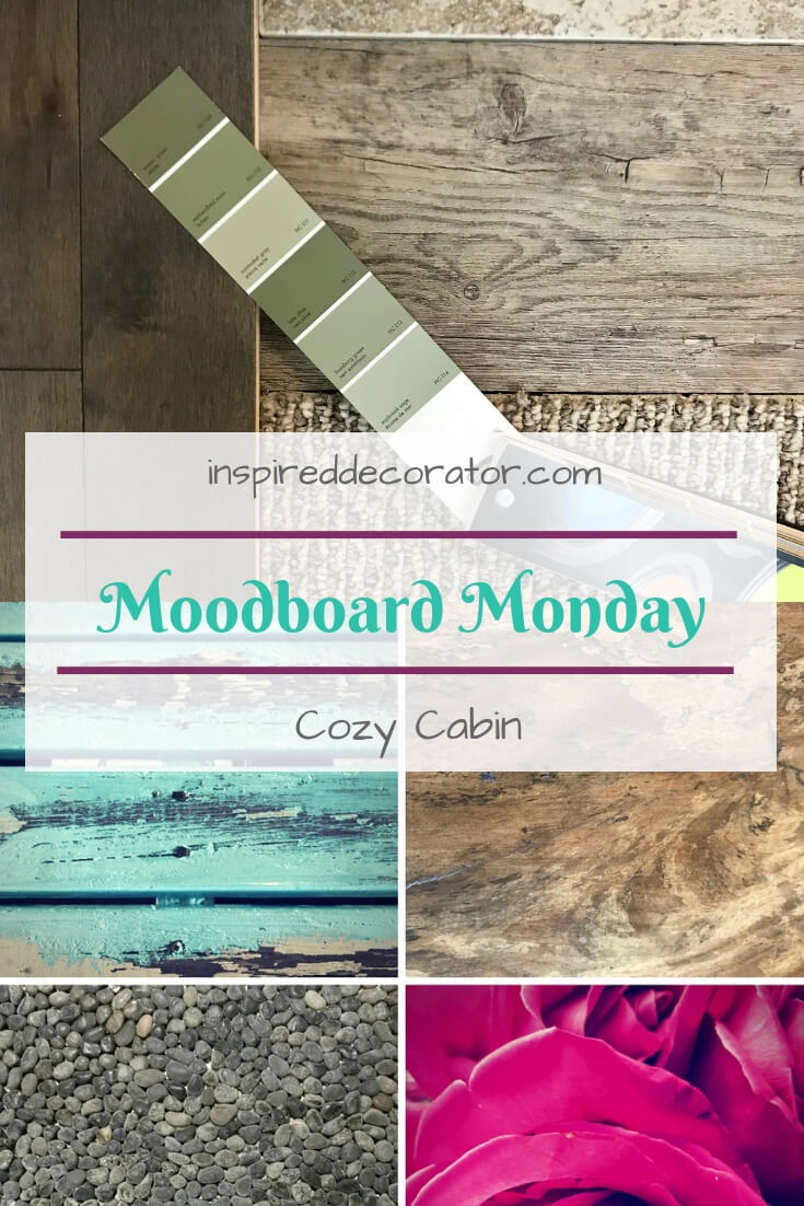 Material board for Cozy Cabin of the Moodboard Monday inspiration series www.inspireddecorator.com
