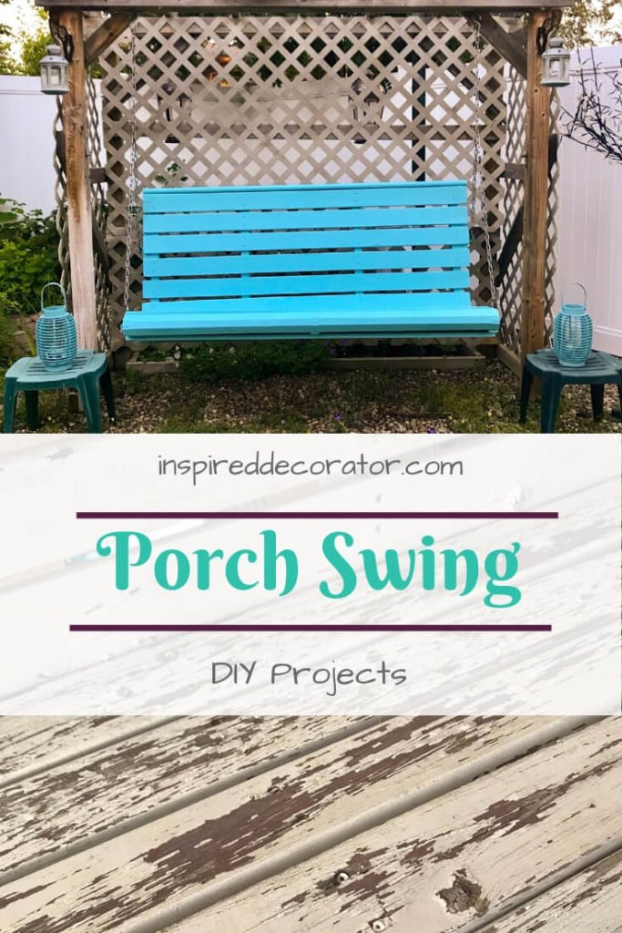 Porch Swing DIY Restoration. This swing project was done using Benjamin Moore Aura Exterior Paint in Pool Blue. It adds color to the backyard. inspireddecorator.com