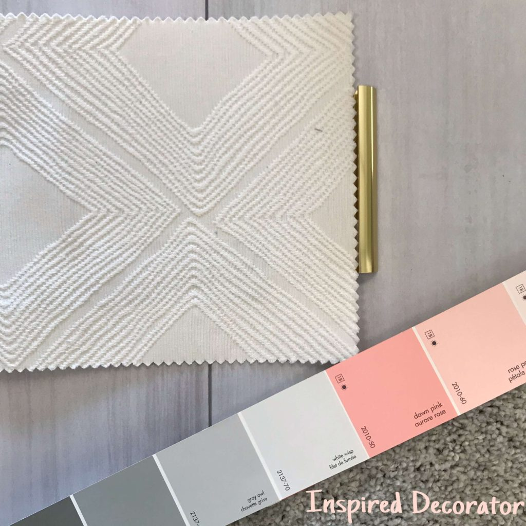 Moodboard Monday: Got Me Blushing. A beautiful combination for this week's post. Such a feminine and sophisticated look! A part of the material board Inspirational Series www.inspireddecorator.com
