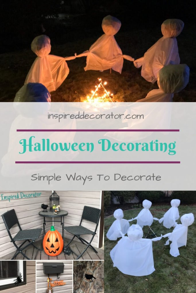 You don't have to go big and broke to get a great look this Halloween! Check out this post on Simple Halloween decorating, including instructions to make a diy creepy ghost circle! Happy Hallowe'en! www.inspireddecorator.com