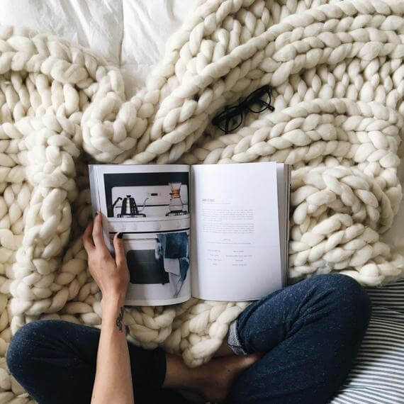 The fall is all about creature comforts, and a good chunky knit blanket is a must! Check out this one by Colorwaysgallery on Etsy!