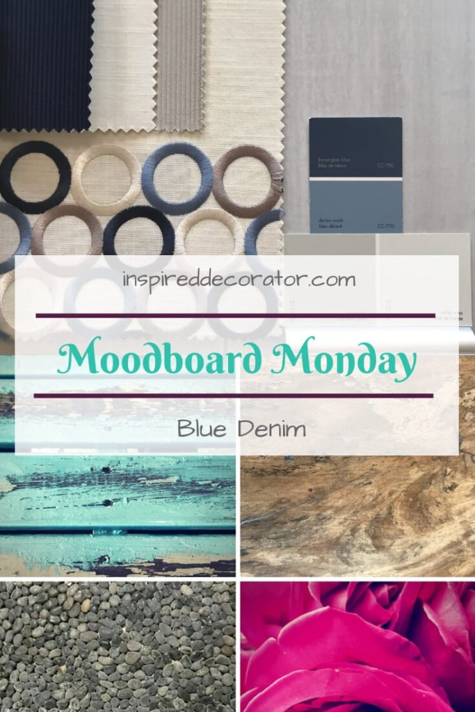 Moodboard Mondays inspiration series: Blue Denim. A beautiful and calm blue is used in interesting ways to create a dramatic moodboard. www.inspireddecorator.com