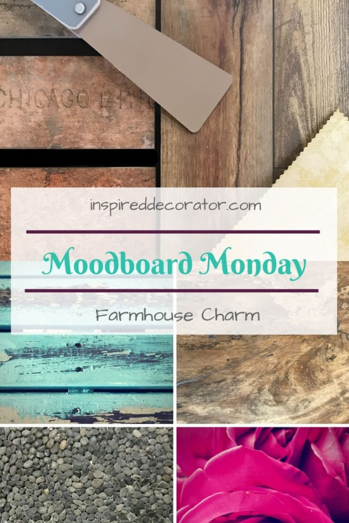 Moodboard Monday: Farmhouse Charm. The laminate flooring in this moodboard is the focal point with materials that compliment it and create a rustic farmhouse vibe. www.inspireddecorator.com