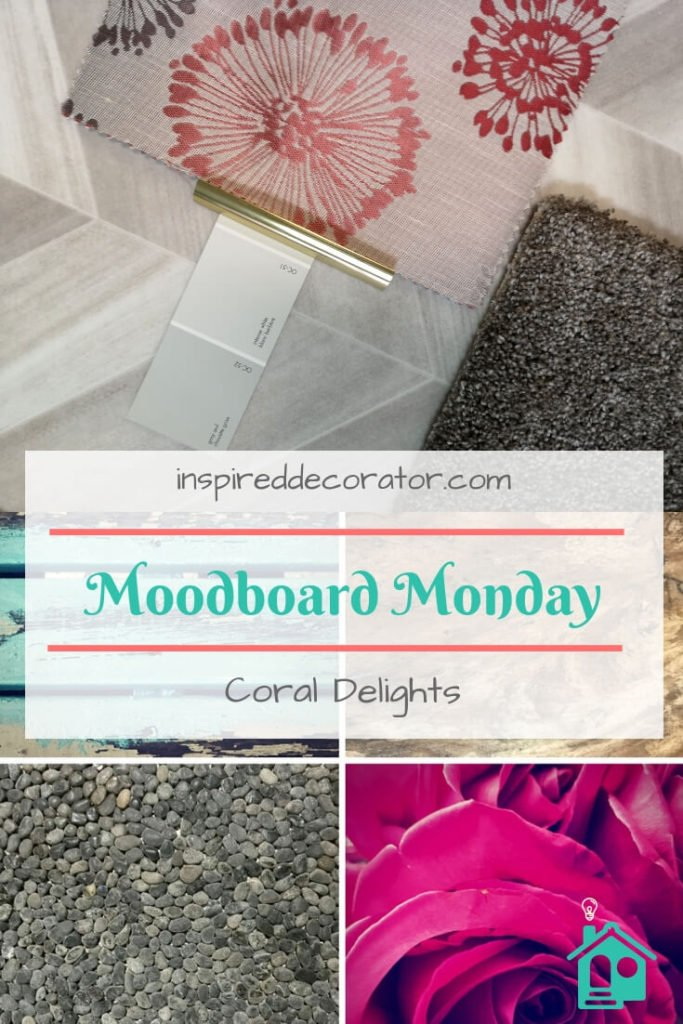 Moodboard Monday: Coral Delights is a beautiful combination of grays, whites, and the 2019 color of the year Coral. This board blends different patterns to create a modern mood board. inspireddecorator.com