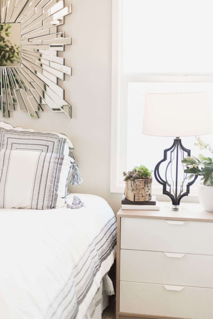 A stylish white bedroom