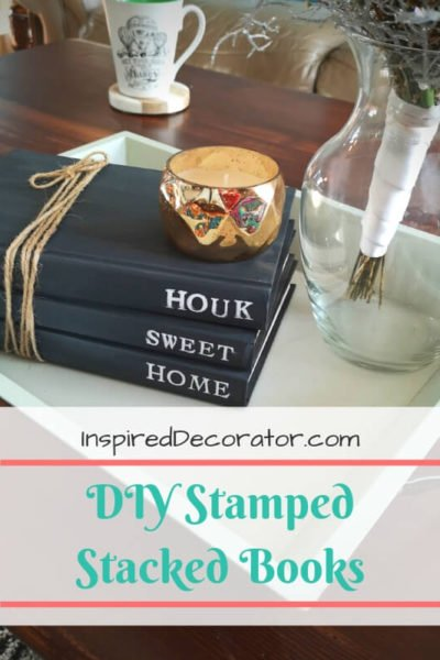 DIY Stamped Stacked Books are a popular decor item for rustic and farmhouse-inspired homes! Here's how I made my own at no cost! inspireddecorator.com