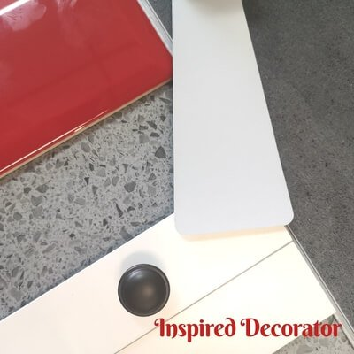 Moodboard Monday Concrete Creations adds some drama to an industrial decor style with a pop of red