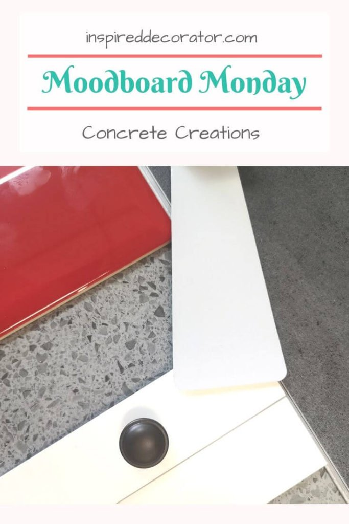 Moodboard Monday Concrete Creations adds a pop of red to an industrial design style