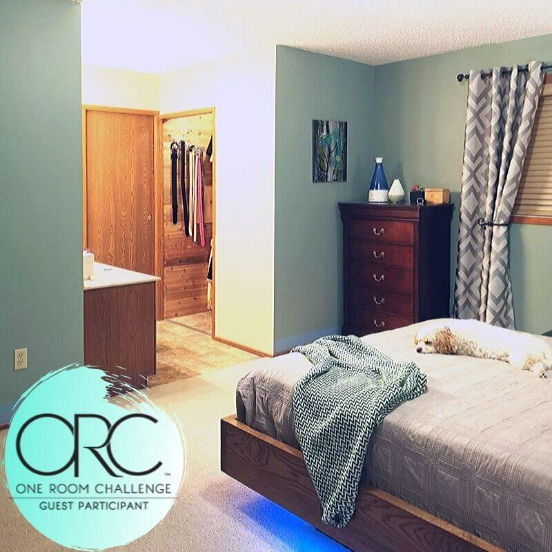 Relaxing Open Bathroom Renovation project reveal for the One Room Challenge 2019. The master bathroom is open to the bedroom. The before bathroom features a walk-in closet, long vanity, full wall mirror, and closed off small shower stall and toilet area.