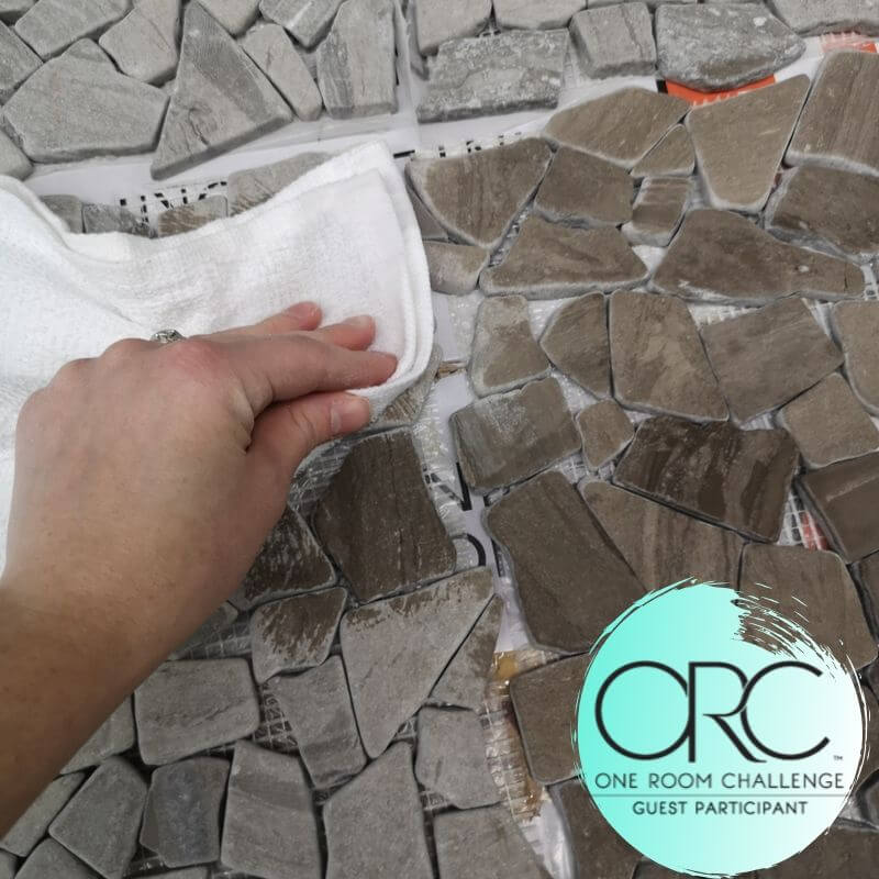 Natural stones which are absorbent, are being sealed with a water-based matte sealant to protect them from stains and watermarks.