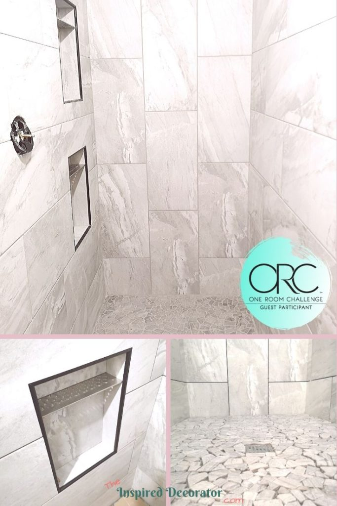 This large walk-in shower is wrapped in a rectangular porcelain tile. The warm undertones keep the chill away while the lightness of this gray keeps the shower bright. The pattern changes from horizontal on the long walls to vertical on the side walls and ceiling so the tiles look like they wrap all around.