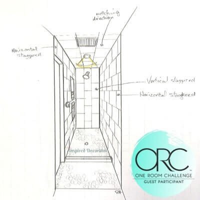 A 3D sketch of the Master Bath shower plan.