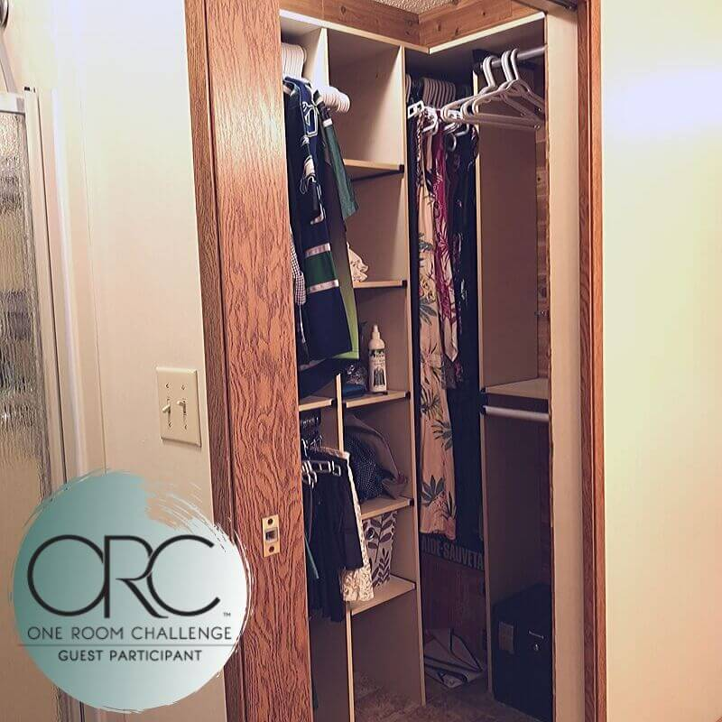 The walk-in closet had full length mirror bi-fold doors, cedar plank walls, and plenty of shelving.