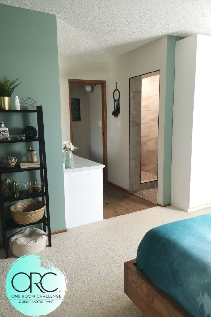 The Master Bathroom Renovation is complete for the One Room Challenge Fall 2019. A serene master suite was created with spa tones, natural materials, and a simple design.