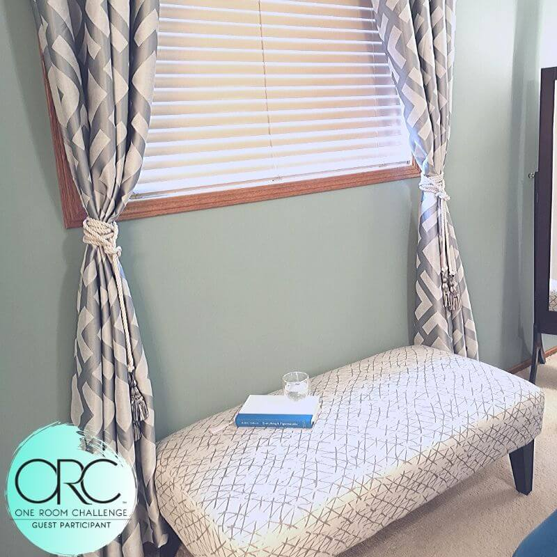 The bedroom window allows a lot of light to filter into the master suite. It creates a soft and serene ambience. DIY tiebacks were made to fit into the new shabby chic bedroom style.