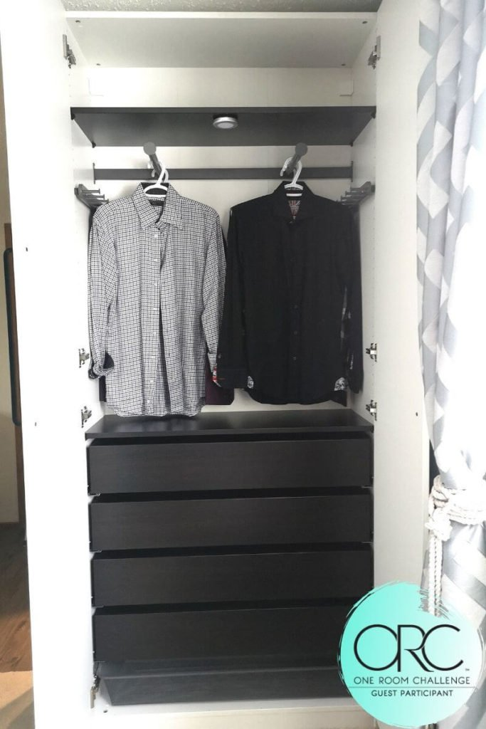 A seperate Ikea Pax closet unit functions as a dresser with lots of storage room.