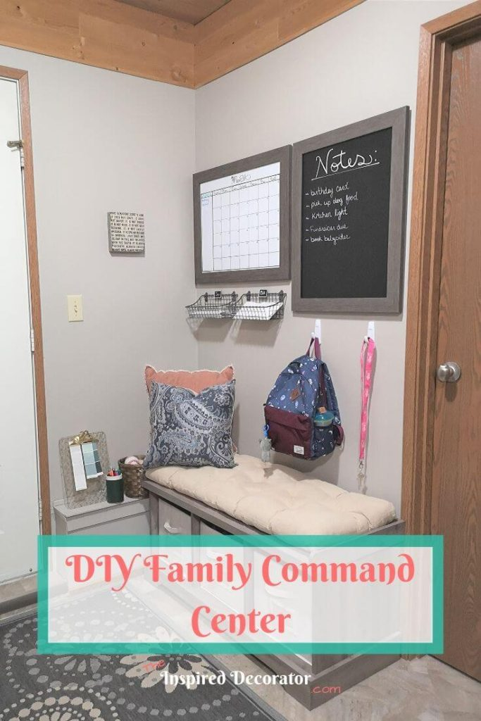 Create A Family Command Center in your home. A high traffic spot can be turned into a family command center. Personalize yours to meet your family's needs. This could include a large diy whiteboard calendar, chalkboard for notes, an area for mail sorting, designated backpack locations, and a bench with bins for gloves and mitts. - the Inspired Decorator
