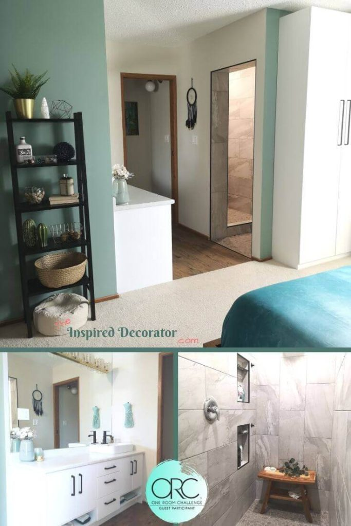 The Master Bathroom Renovation is complete for the One Room Challenge Fall 2019. A serene master suite was created by the Inspired Decorator with spa tones, natural materials, and a simple design.