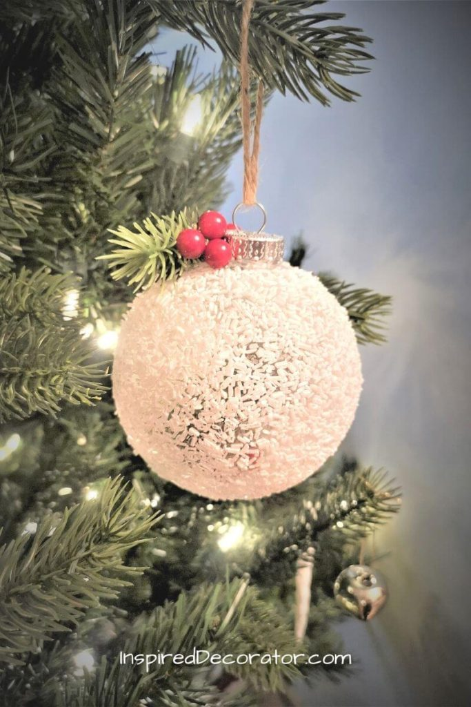 A Frosted Christmas Ornament makes a beautiful decoration. It's the holiday craft for Day 8 of the 12 Crafts of Christmas series. - the Inspired Decorator