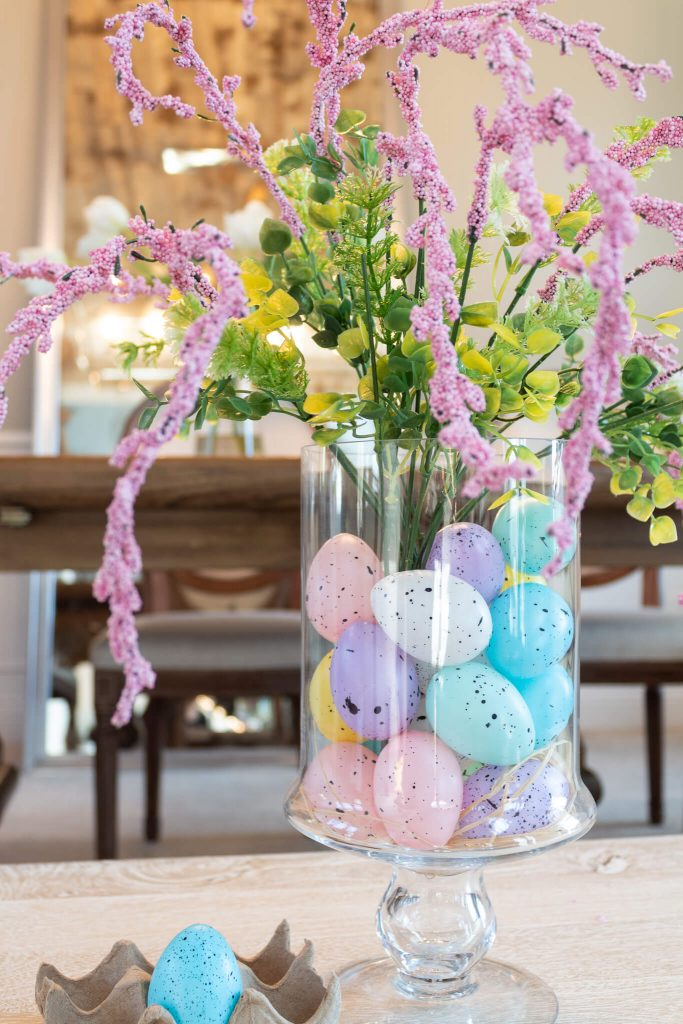 Martina from the Lived-In Look created this quick and vibrant Dollar Tree Easter centerpiece.