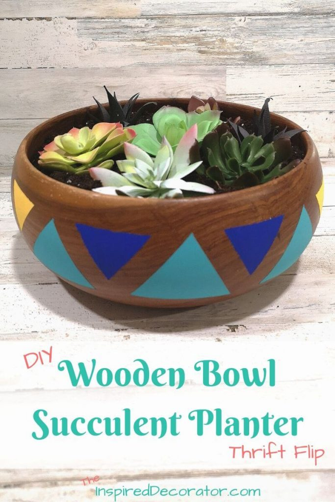 How to make a DIY succulent planter using a wood bowl is simple with the right supplies. Acrylic paint makes your painted pattern bolder. What a fun wood bowl idea for a succulent planter. Create an inexpensive succulent garden. - the Inspired Decorator