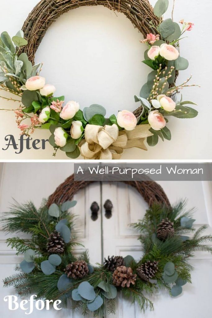 Easy DIY Spring Wreath Flip from A Well-Purposed Woman