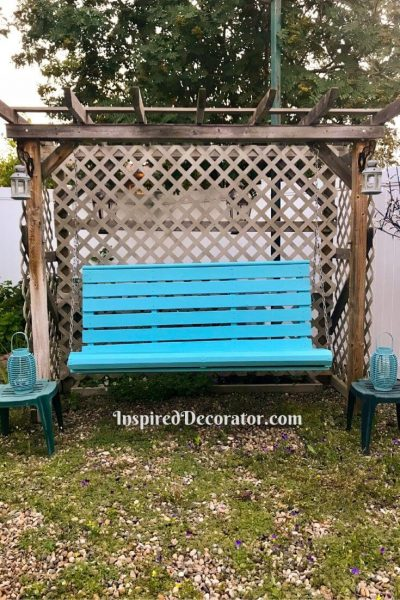 This wooden porch swing was painted with Benjamin Moore's Pool Blue. This swing restoration project involved refinishing this old wood porch swing so it would last for many more years to come.