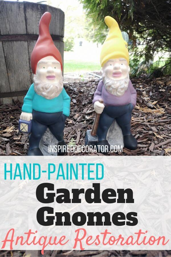 Antique hand-painted garden gnomes were given a fresh look with new paint. Choosing to restore your faded decorations in stead of tossing them is eco-friendly, and makes your home decor unique. - the Inspired Decorator