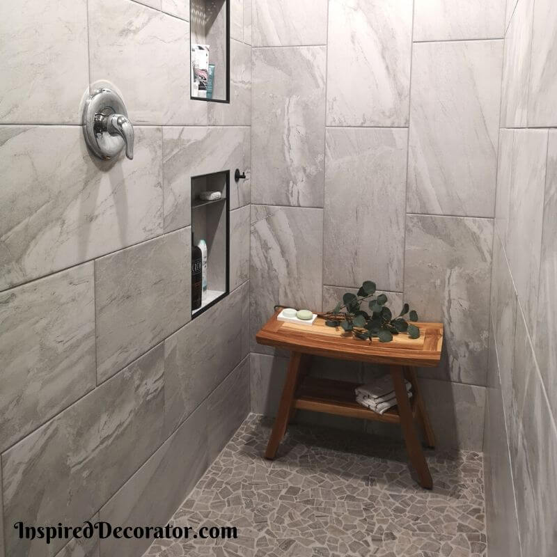 Relaxing and open ensuite walk-in shower by the Inspired Decorator