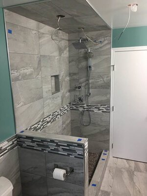 Blissful Bath mood board was the inspiration for this walk-in shower renovation. - the Inspired Decorator