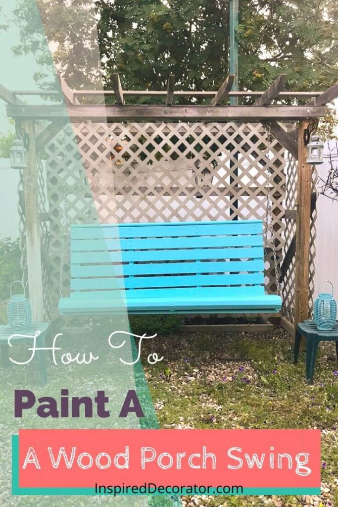 Does your wood swing look past its prime? Learn how to paint a wood porch swing and give it a second life instead of replacing it. This Pool Blue color really brightens up the backyard. - the Inspired Decorator