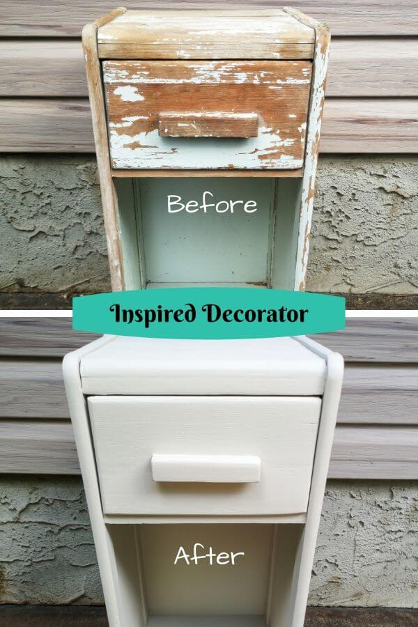 Before and After photos of a vintage cabinet that was refinished using wall paint.
