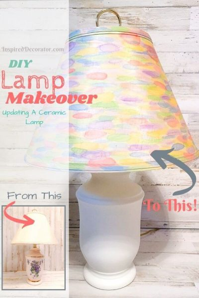 Transform a dated ceramic table lamp into a rainbow watercolor lamp with this diy lamp makeover.