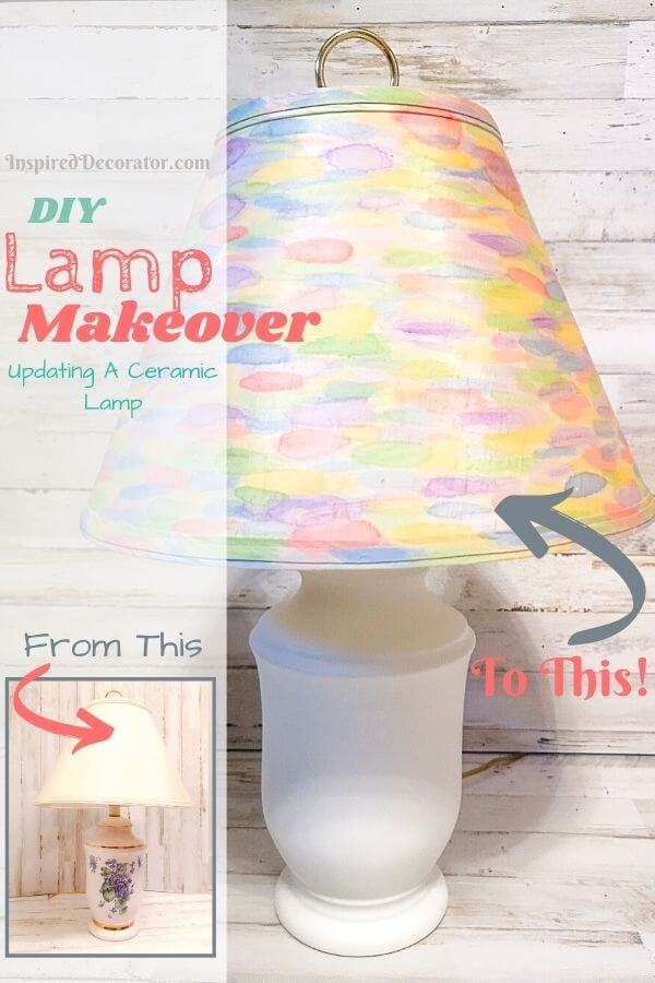 With some spray paint and acrylic paints you can quickyl transform outdated table lamps into a new and fun lamps. This rainbow watercolour DIY lamp makeover completely transforms this ceramic lamp.
