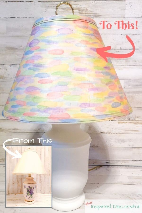 Turn an outdated ceramic table lamp into a fun rainbow watercolour table lamp with this diy lamp makeover.