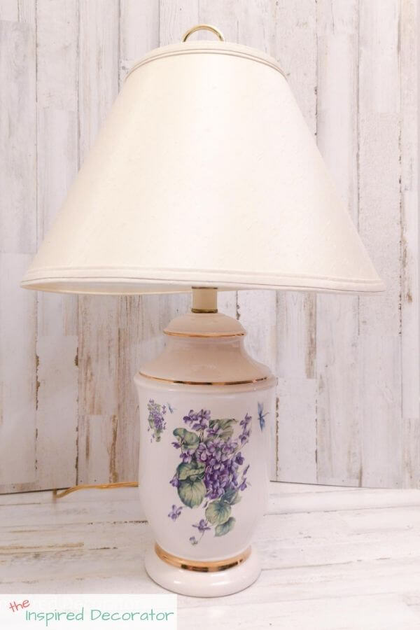 An outdated ceramic table lamp is about to get a diy lamp makeover
