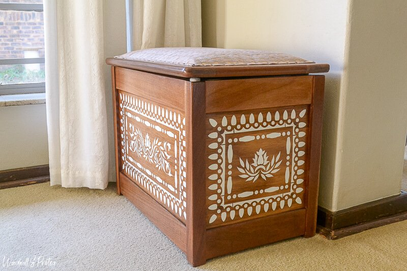 Create a stunning faux bone inlay pattern on a hope chest with this DIY tutorial.