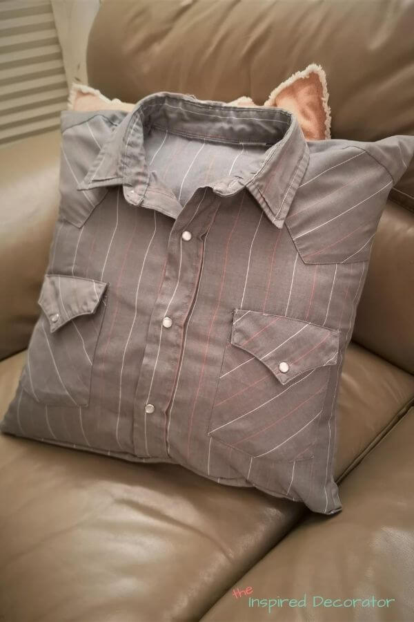 Create a lasting memory with a memory pillow made from a loved ones' shirt.