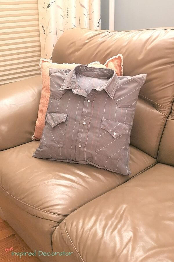 Use a loved ones shirt to make a diy memory pillow from the shirt as a keepsake.- the Inspired Decorator