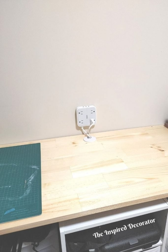 To keep this diy workstation highly functional a power block was wall mounted within easy reach.