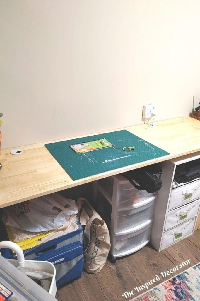 Power cord holes were added to the back of the table top for cords from electronics and machines to pass underneath the desk for easy hook up This keeps the work space cleaner and safer without the presence of cords where you're working.