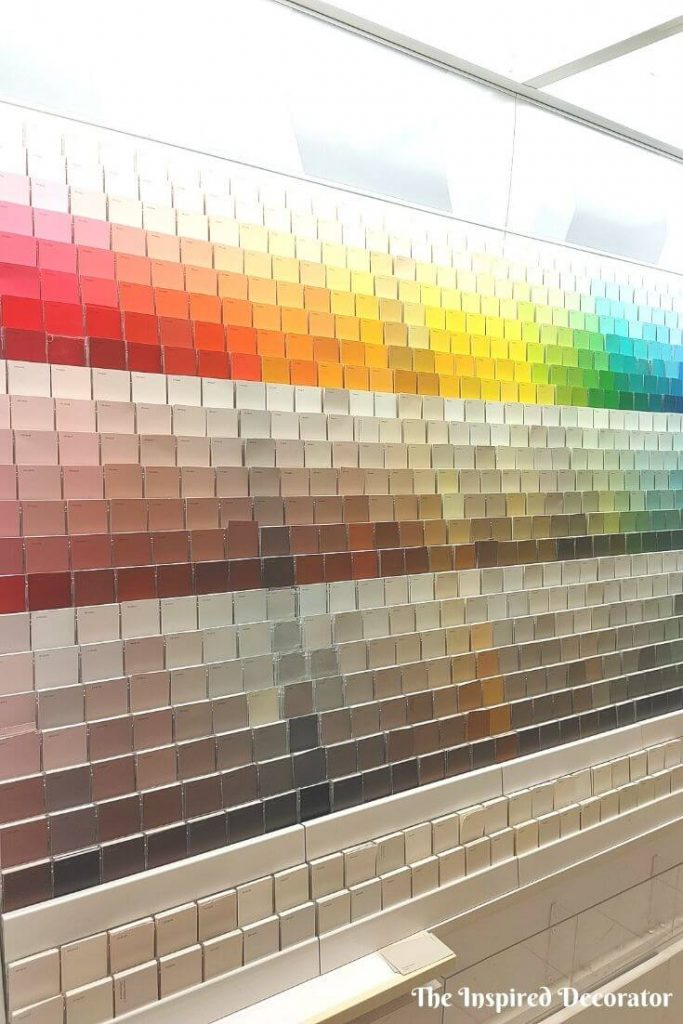 A part of overhauling a messy home office means trips to the paint store for some inspiration. A rainbow of color choices!