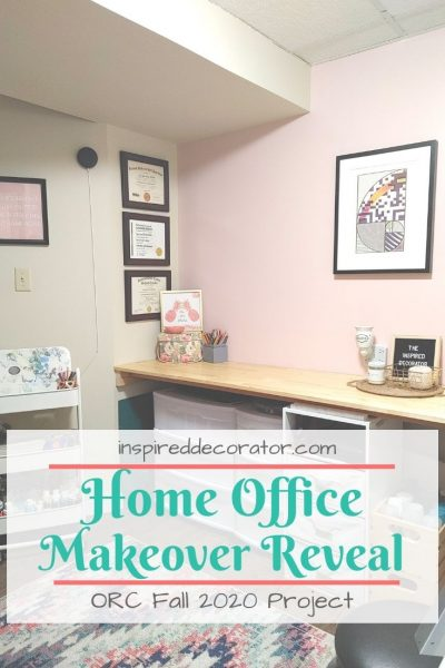 MY Home Office Makeover reveal. This project was completed by mostly reusing and repurposing furniture and supplies that were already on hand.