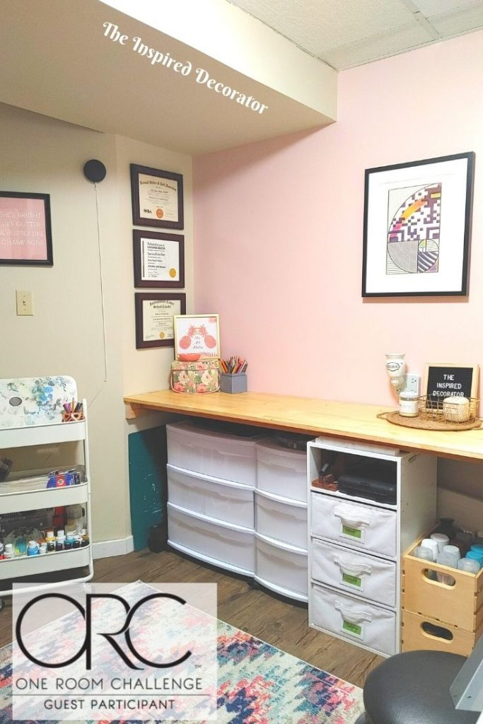 Before and After shots of the Home Office Makeover reveal completed during the One Room Challenge.