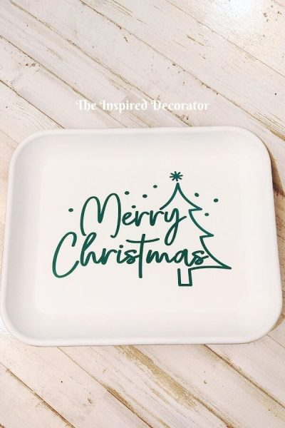 DIY Christmas Sign made from a thrifted metal tray. This was made for display purposes on, and is not made to be food-safe. But it sure is pretty! And easy to do yourself.